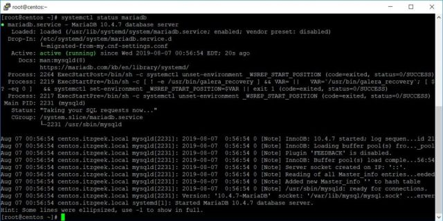 MariaDB Service Status