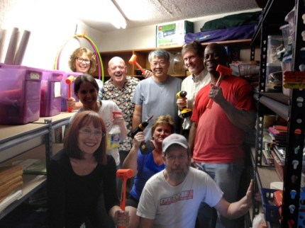 Cindy O'Dell's Comma Group celebrates the reorganization of the Christian Education Closet