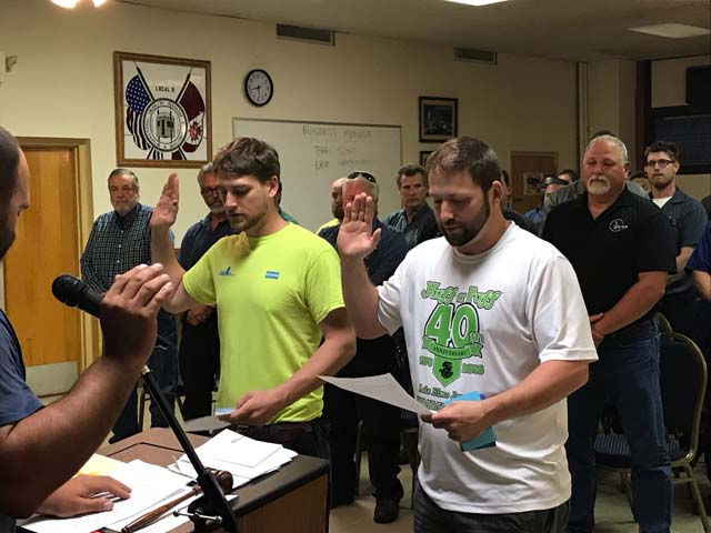 L9 Swearing in of two new members Zach Pierson and Tony Schillinger.