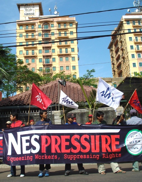Workers Protest At Nestle Office In Jakarta (IUF)