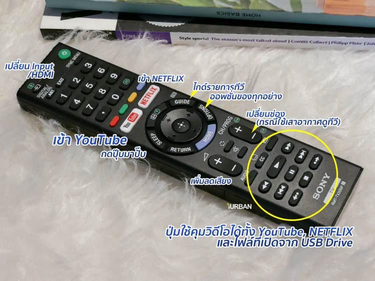 sonyx7000e remote 1 750x563 รีวิวภาพจริง SONY 4K HDR TV รุ่น X7000E เจน 2017 ตัวถูกสุดนี้ มีดีอะไรบ้าง?