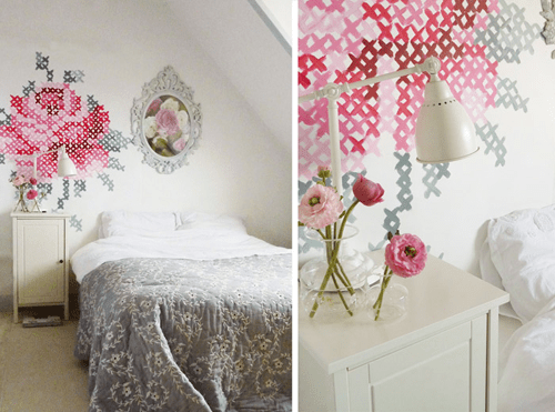 DIY: Wallpaper Еmbroidery ♥ 16 - Cross-stitch