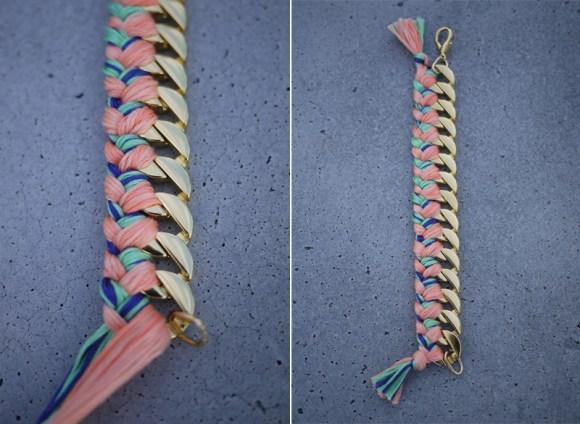 wovenbracelet5 580x424 DIY Woven Chain Bracelet