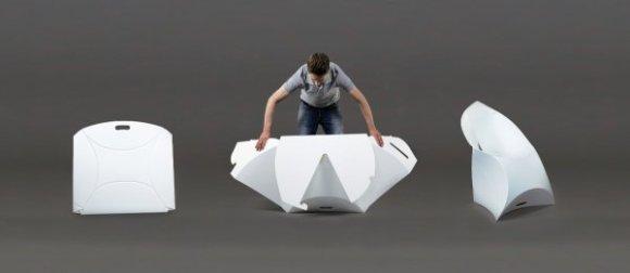 flux folding view 580x252 Flux Chair..เก้าอี้จากไอเดียงานพับกระดาษของญี่ปุ่น พับเก็บง่าย น้ำหนักเบา ไม่เปลืองที่