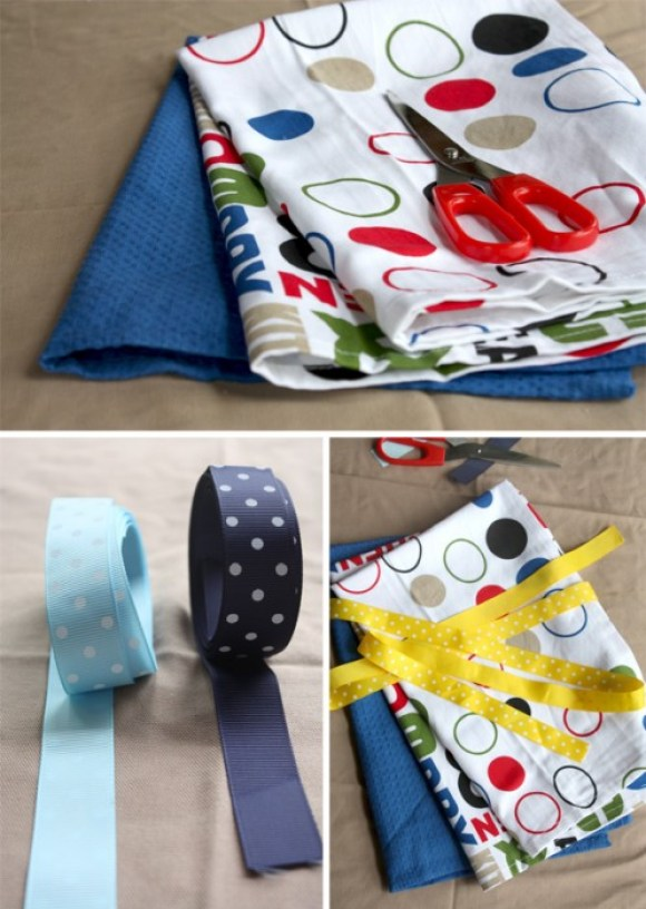 tea towel apron2 580x816 DIY: Aprons From Tea Towels Without Sewing for Moms Day