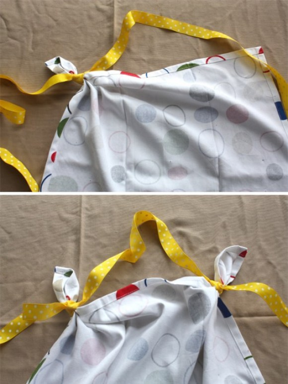 DIY: Aprons From Tea Towels Without Sewing for Mom's Day  15 - apron