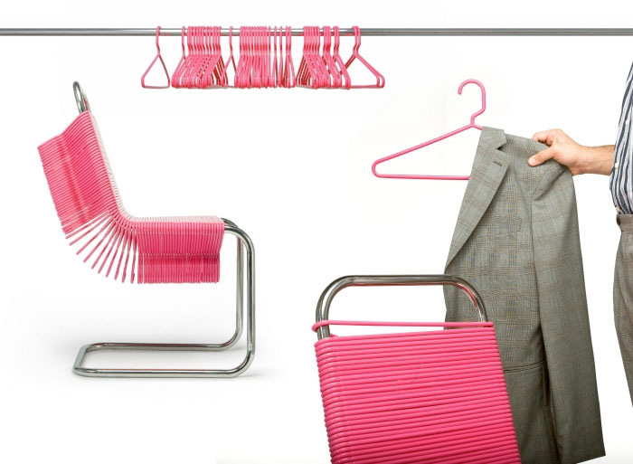 Chairs Made from Plastic Coat Hangers เก้าอี้ไม้แขวน 13 -