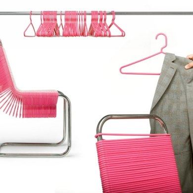Chairs Made from Plastic Coat Hangers เก้าอี้ไม้แขวน 14 -
