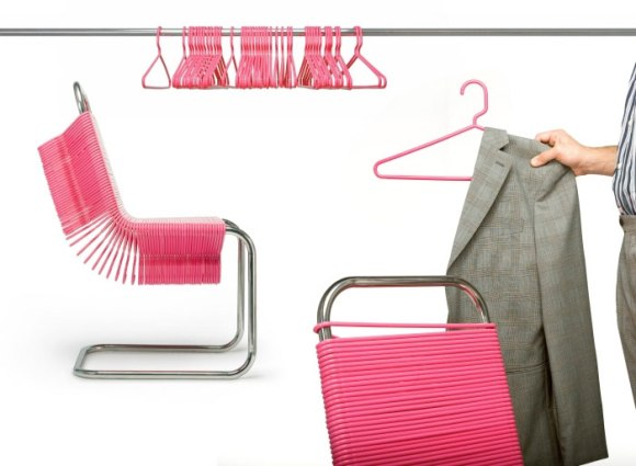 cool chair design 580x425 Chairs Made from Plastic Coat Hangers เก้าอี้ไม้แขวน