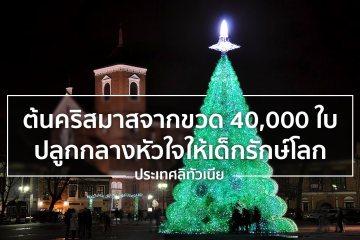 ประเทศลิทัวเนียทำต้นคริสต์มาสจากขวดพลาสติก 40,000 ใบ สะท้อนคุณค่ารักษาสิ่งแวดล้อม