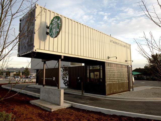 77851 Starbucks สาขานี้ทำจากตู้คอนเทนเนอร์