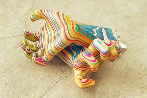 Haroshi 6 wooden skateboard sculptures