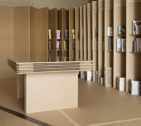 ตกแต่งด้วยเฟอร์นิเจอร์จากกระดาษกล่อง 13 - foldaway bookstore