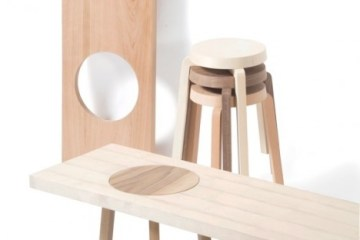 เก้าอี้สตูว์ + ม้านั่ง ในชิ้นเดียว เรียบง่ายแนว Minimalist