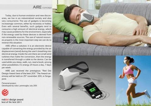 breathing iphone charger 497x350 ชาร์จไอโฟนด้วยลมหายใจ AIRE Mask