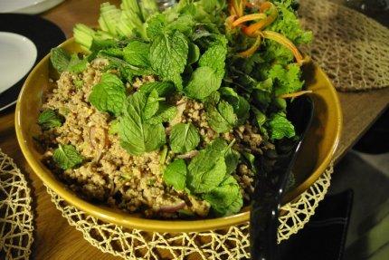 Ibaraki pork larb with fresh herbs