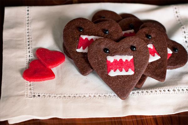 คุกกี้โดโมะ น่ารักๆ chocolate domo-kun heart cookies 13 - Chocolate