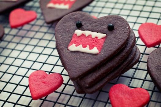 6844359299 e45fe46831 z 526x350 คุกกี้โดโมะ น่ารักๆ chocolate domo kun heart cookies