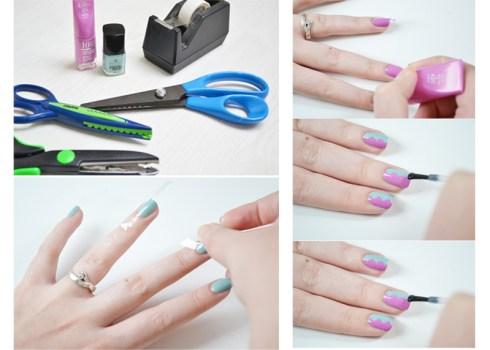 12 Amazing DIY Nail Art Designs Using Scotch Tape เล็บสวย12 วิธีด้วยสก็อตเทป 20 - Nail Art Designs