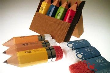 Packaging ผ้าขนหนู..แนวคิดเจ๋งๆ ที่ทำเป็นยางลบในแท่งดินสอ