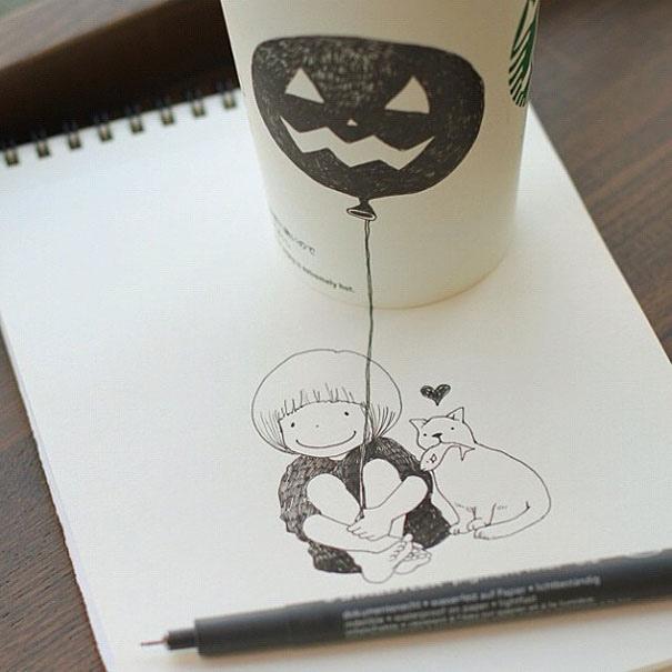25551218 151005 3D comics series จากถ้วย Starbuck แทนกระดาษวาดเขียน