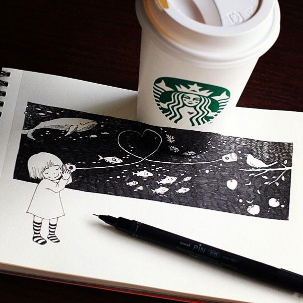 25551218 151035 3D comics series จากถ้วย Starbuck แทนกระดาษวาดเขียน