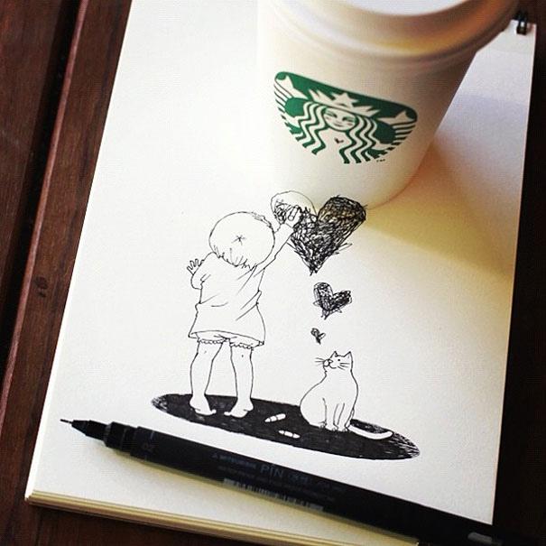 25551218 151039 3D comics series จากถ้วย Starbuck แทนกระดาษวาดเขียน