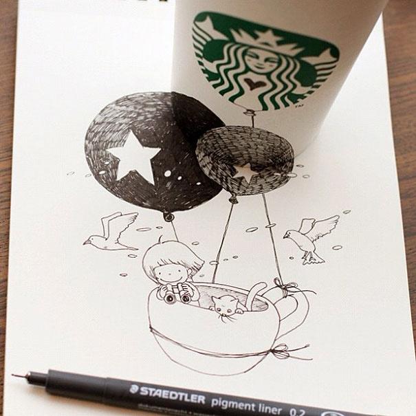 25551218 151049 3D comics series จากถ้วย Starbuck แทนกระดาษวาดเขียน