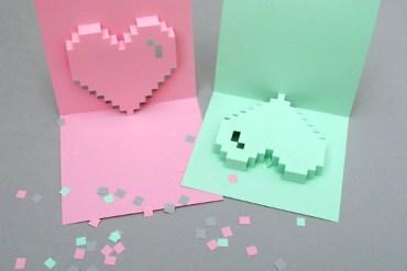 การ์ดวาเลนไทน์แบบ Popup Pixel พร้อมแบบ ทำเองได้ด้วยอุปกรณ์แถวโต๊ะทำงาน 28 - paper