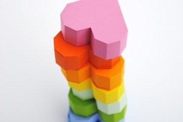 Geometric heart Valentines box 27 - paper