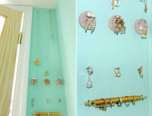 DIY Wall Jewelry Holder lea 620x473 6เคล็ดลับที่ทำให้อพาร์ตเม้นต์เล็กๆดูใหญ่ขึ้น