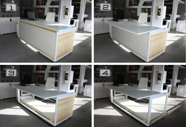 25560316 085242 โต๊ะทำงาน สำหรับคนชอบงีบในที่ทำงาน ซ่อนเตียงไว้ข้างใต้