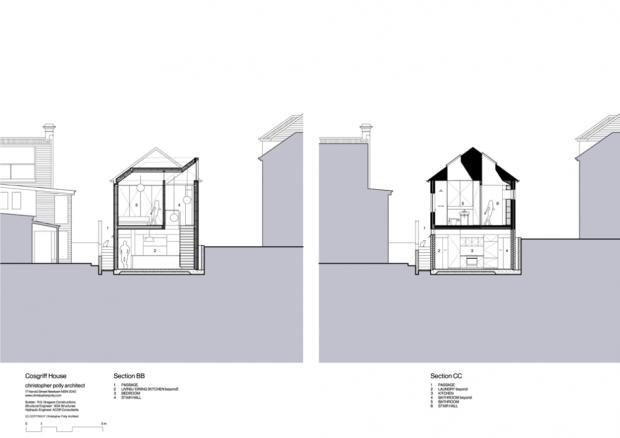 51913219b3fc4b8979000041 cosgriff house christopher polly architect sections 620x438 บ้านที่ต่อเติมโดยเพิ่มพื้นที่ 20 ตร.ม.แต่ได้พื้นที่ใช้สอยทั้งห้องน้ำ ห้องนอน ห้องทำงาน ห้องครัว