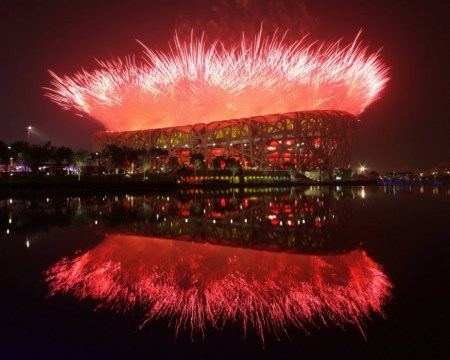 Olympics Fireworks 500 450x360 สนามกีฬา Beijing National Stadium, Beijing