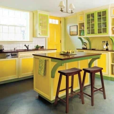 25560710 085414 ไอเดียแต่งห้องครัวด้วยสีเขียว เหลือง 30 แบบ