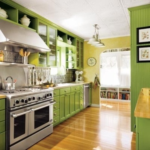 25560710 085735 ไอเดียแต่งห้องครัวด้วยสีเขียว เหลือง 30 แบบ