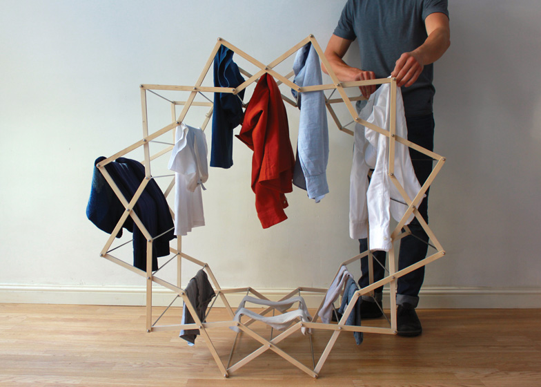 Clothes Horse by Aaron Dunkerton dezeen ss 5 Star shaped clothes horse ราวตากผ้าเน้นพื่นที่จำกัด