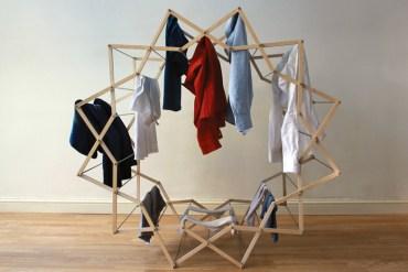 Star-shaped clothes horse ราวตากผ้าเน้นพื่นที่จำกัด 13 - cloth