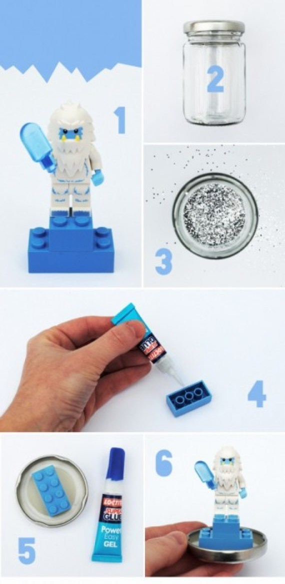 how to DIY.Lego snowglobes for Christmas