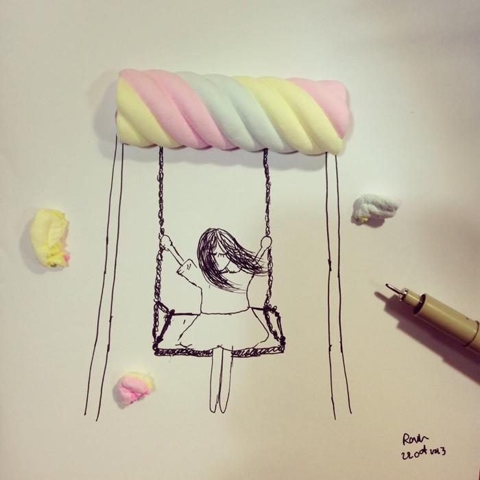 25570104 165941 จินตนาการไม่มีขอบเขต.. Rain Kamonwan หยิบสิ่งเล็กๆใกล้ตัวมาเติมแต่งวาดเล่น ภาพธรรมดาเลยพิเศษ