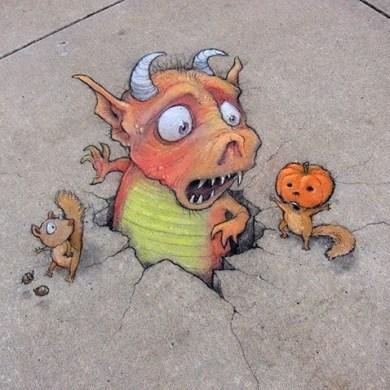 ภาพสีชอล์คอารมณ์ดี..ศิลปะข้างถนน โดย David Zinn 15 - chalk art