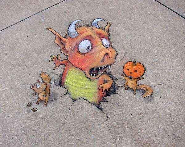 ภาพสีชอล์คอารมณ์ดี..ศิลปะข้างถนน โดย David Zinn 20 - street art