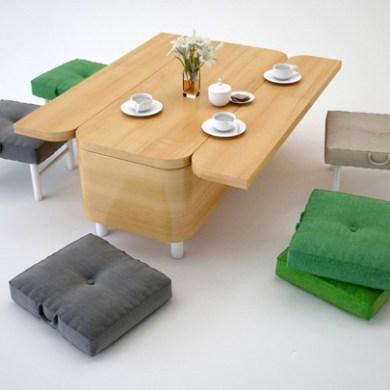 โซฟาที่เปลี่ยนเป็นโต๊ะทานข้าว พร้อมเก้าอี้สำหรับ 6 ที่ได้อย่างง่ายๆ 19 - ชุดรับแขก