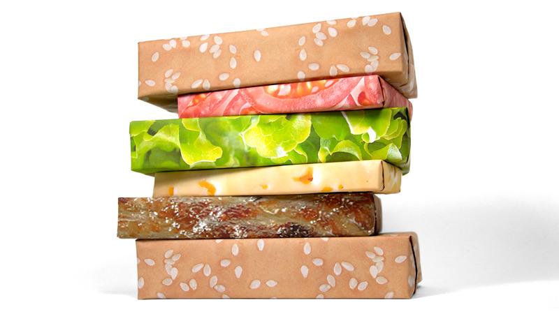 Gift Couture  Cheeseburger Wrap กระดาษห่อของขวัญแฮมเบอร์เกอร์