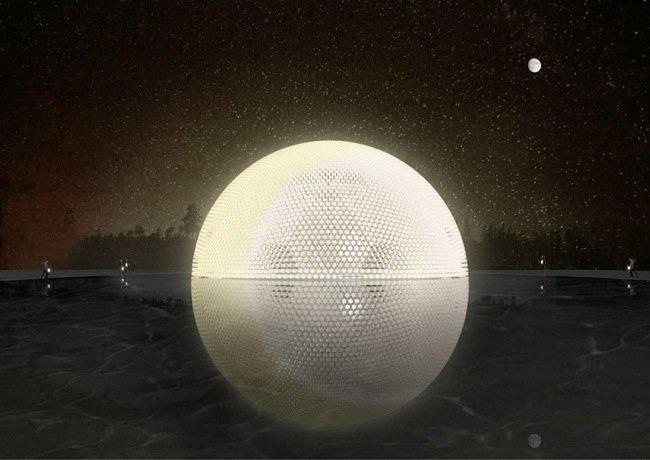 25570407 103743 พระจันทร์ส่องสว่างลอยขึ้นจากผืนน้ำ..พาวิเลียนที่ทำจากขวดพลาสติกและหลอด LED