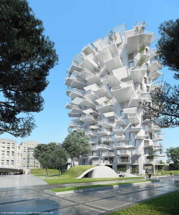 25570410 082737 Arbre Blanc..อาคารที่เสมือนต้นไม้สีขาว แตกกิ่งก้านออกรับสายลม แสงแดด