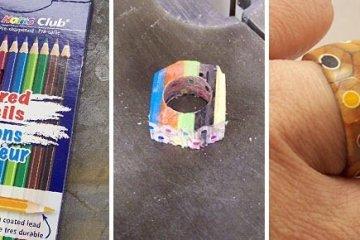 DIY เปลี่ยนดินสอสี เป็นแหวนสายรุ้ง..สวยงาม 16 - DIY