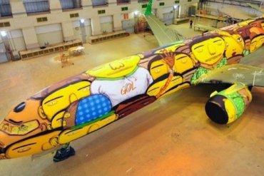 ศิลปิน graffiti วาดภาพบนเครื่องบินทีมชาติบราซิล ในฟุตบอลโลก World Cup2014 15 - เครื่องบิน