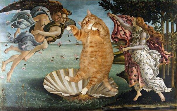 20140608 140550 50750127 ศิลปินรัสเซียวาดภาพแมวอ้วนของเขาเข้าไปในงานศิลป์ระดับคลาสสิคของโลก