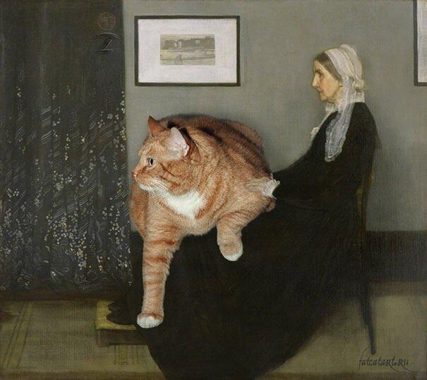 20140608 140727 50847706 ศิลปินรัสเซียวาดภาพแมวอ้วนของเขาเข้าไปในงานศิลป์ระดับคลาสสิคของโลก